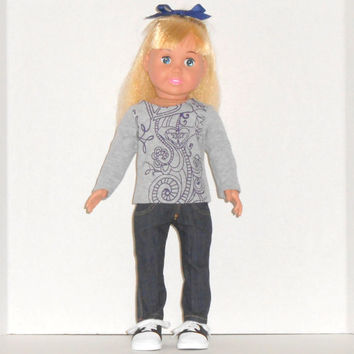 American Girl Doll Clothes Gray Graphic Shirt and Stretch Denim Skinny Jeans