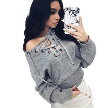 Lvinmw Lace Up V-neck Sweater Women 2016 Casual Sueter Mujer Knitted Jumper Top Sexy Belt Ribbed Women Sweaters and Pullovers