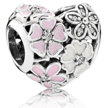 European Pink Heart Flower Bead Slider Poetic Bloom Charms Fit Women Pandora Bracelets