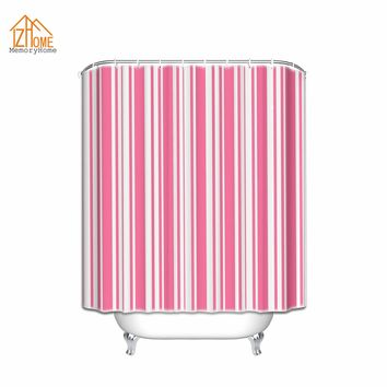 Memory Home Cute Fabric Shower Curtain Multi-color Printed Striped White and Pink Color Striped Bathroom Product