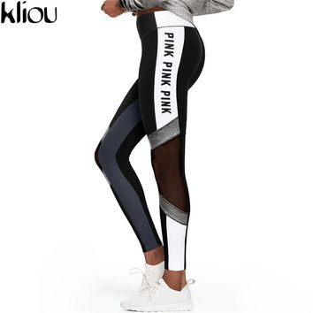 Kliou 2017 High Waist Slim Fitness Leggings Women Black Letter Print Workout Legging Sporting Adventure Time Fashion Leggings