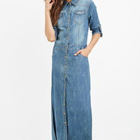 Denim Maxi Shirt Dress
