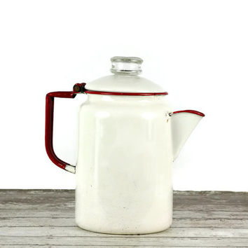 Vintage Enamel Percolator, Coffee Pot, Enamelware, Farmhouse Kitchen