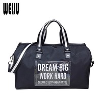 WEIJU Women Travel Bag Transparent Letter Printing Shoulder Bag Large Capacity Men Hand Luggage Duffle Bags New Travel Bags