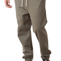 The Stretch Twill Jogger Pants in Military Green