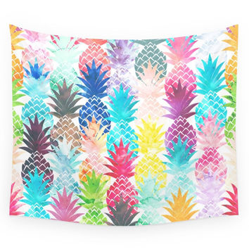 Society6 Hawaiian Pineapple Pattern Tropical Wate Wall Tapestry
