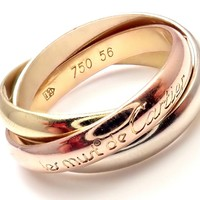 Authentic! Cartier 18k Tri-Color Gold Must De Trinity Band Ring Size 56 US 7.5