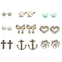 Mixed Love Button Earring Set | Wet Seal