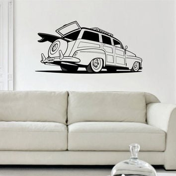 Woody Surf Car Old School Car Design Decal Sticker Wall Vinyl Decor Art