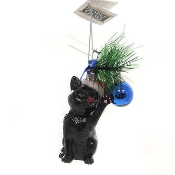 Noble Gems CAT WITH BALL ORNAMENT Glass Kitten Christmas Meow Nb1141 Black