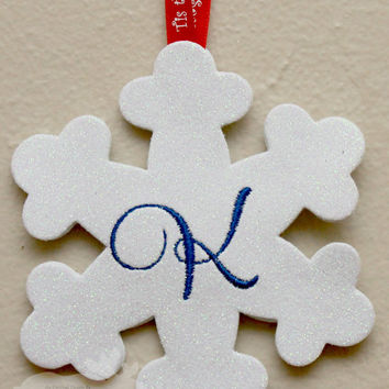 Snowflake Ornament / Holiday Ornament / Glitter Ornament / Personalized Ornament / Monogrammed Ornament / Christmas Ornament / White Glitter