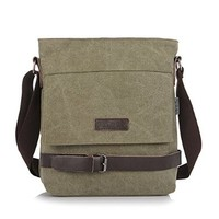 Vere Gloria Mens Retro Fashion Canvas Shoulder Bag Small Business Casual Messenger Bag Fit for Ipad
