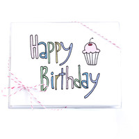 Birthday Card Set - Happy Birthday Cupcake Set of 8 Cards by Yellow Daisy Paper Co.