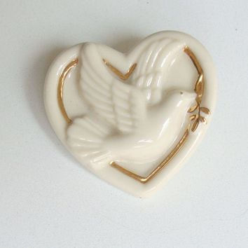 Lenox Dove Heart Pin Porcelain Brooch Gold Enamel Designer Figural Jewelry