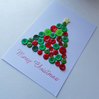 Christmas Card , Button Art , Christmas Tree Cards , Button Tree Art , Christmas Greeting Card , Christmas Decor