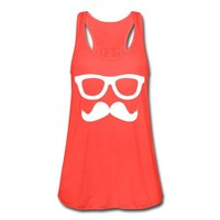 Spreadshirt, Mustache and Glasses, Women's Flowy Tank Top by Bella, coral, M