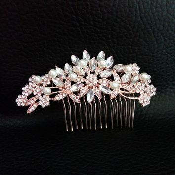 Art Deco Rose Gold and Silver Clear Crystals and Pearls Flower Leaves Wedding Hair Comb Bridal Headpiece Hair accessories