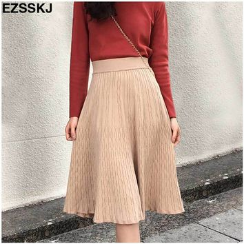 Autumn winter elegant Rib Knitted Cotton A-line Midi Skater Skirts Elastic Waist Sweet Flared Knee Length Knit Spring Skirts