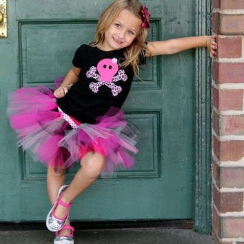 Pink and black tutu outfit set, punk girly skull tutu costume, girly skull applique shirt, pink and black, leopard print, girls, babies