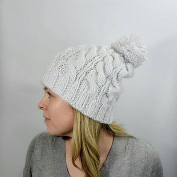 Knit Cable Hat with Pom, White with Silver Sparkle Slouch Beanie, Braided Ski Hat, Topper Cap, Gift Ideas for Women and Teens