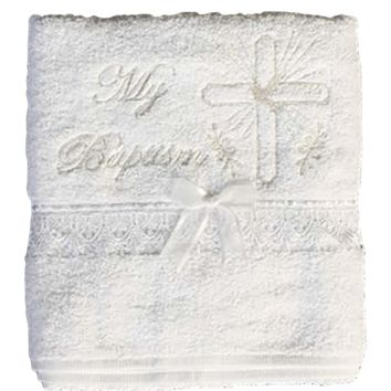 Baptism Towel White Terry Cotton with Gold Embroidery & Cross (Infants)