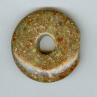 32mm Red and Green Autumn Jasper PI Donut Pendant