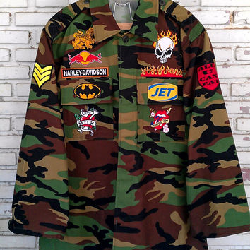 Vintage Custom Patches Military Camouflage Jacket / DIY Custom Patches Jacket Size: L