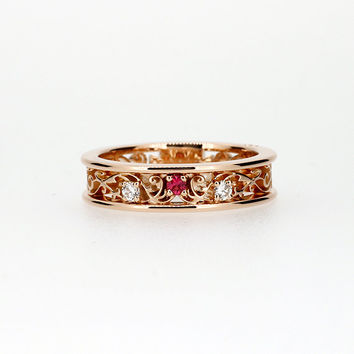 Ready to ship size 6, Rose gold filigree ring with Pink spinel and diamonds, filigree engagement ring, spinel ring, unique, diamond wedding