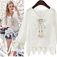 Bohemian Style Lace Shirt Women Blouse Lace Crochet Feather Ribbon Lacing Up Casual Tops Pullover White Shirt Long Sleeve T6827
