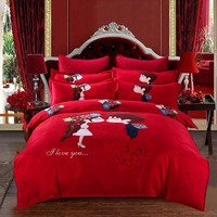 red bedding sets twin queen Double size cartoon quilt cover +sheet +pillowcases  bed linens set