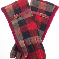 Plaid Touch Screen Gloves, Red