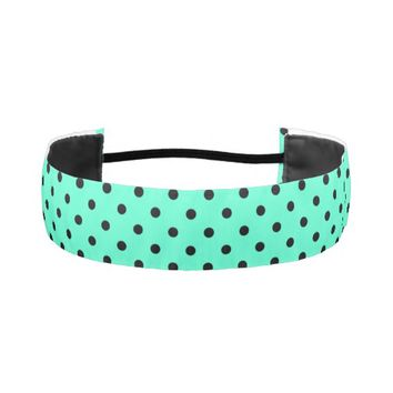 Mint Black Polka Dots - Elastic Headband Elastic Headbands