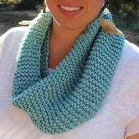 Knitted Tube Scarf in Aqua by KaylaKozy on Etsy