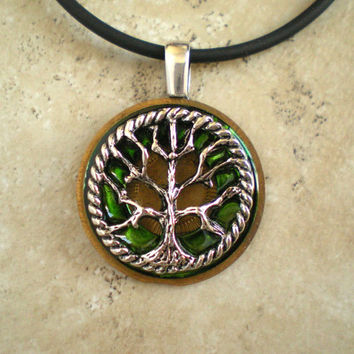 Tree of Life Necklace: Green Brass - Wiccan Pendant - Celtic Jewelry - Tree Jewelry - Washer Jewelry - Elemental Jewelry - Unique Jewelry