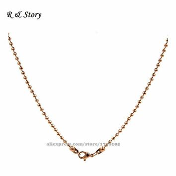Rose Gold Ball / Bead Chains Pendant locket 30 Inches Long with Connectors LFH_013
