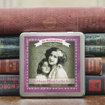 Heirloom Photo Locket Kit - Antiqued Brass or Bright Silver