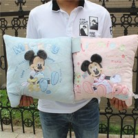 1pcs 3d Embroidery Mickey Mouse and Minnie Mouse Plush Pillow Cute Mickey and Minnie Soft Cusion Gifts for Birthday