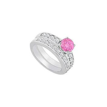 14K White Gold : Pink Sapphire and Diamond Engagement Ring with Wedding Band Set 1.50 CT TGW