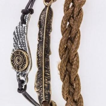 Wing & Feather Layer Bracelet