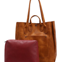 Square Tote Bag With Contrast Inside Bag - Brown