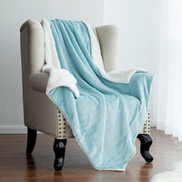 Soft Blue Sherpa  Fabric blanket Warm