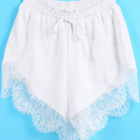 Lace Trim Shorts (White) from Now and Again Co.
