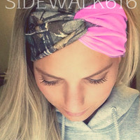 Light Pink and Camo Turban Style Headband