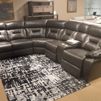 Home Elegance 8229DG-6pc 6 pc Amite collection dark gray leather gel match upholstered sectional sofa with power recliners