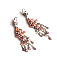 Vintage diamond shaped pendant Swarovski earrings, pink pearl beads, iridescent, pink sequins, round crystals, tear shaped crystals