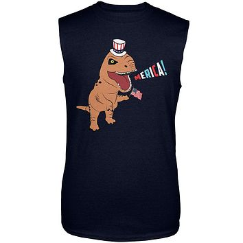 4th Of July Merica Patriotic T-Rex Dinosaur Mens Sleeveless Shirt