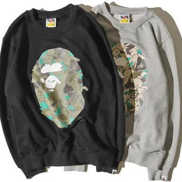 ca spbest Bathing Ape Bape Monkey Head Camo Sweatshirt