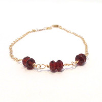 Garnet bracelet - January birthstone - AAA gemstone bracelet - wire wrapped - dark red