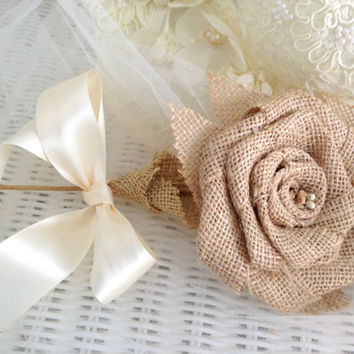 Burlap Rose, Wedding, Bridesmaids, Bouquet, Rustic, Home & Living, Farm, Country, Garden,  Fall (1)