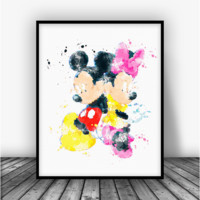 Mickey and Minnie Art Print Poster